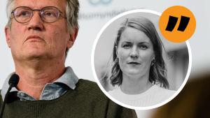 Kolumnistens mot bakgrund av en bild på en fundersam Anders Tegnell som håller presskonferens.