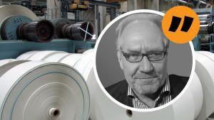 Magnus Hertzberg med pappersfabrik i bakgrunden.