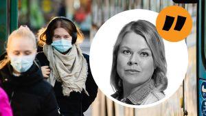 Tre kvinnor med munskydd. Ingemo Lindroos kommentarsstämpel på bilden.