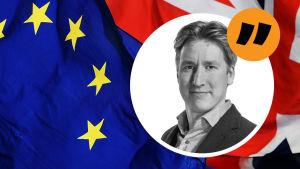 EU:s och Stobritanniens flaggor, med Rikhard husus svartvita bild ovanpå i en vinjett.