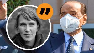 Bildkollage - Christine bredvid Berlusconi