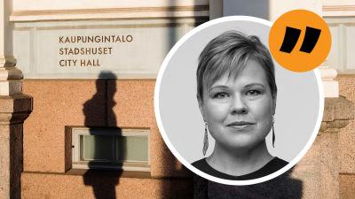 Stadshusets vägg i Helsingfors och Ingemo Lindroos bild ovanpå i vinjett.