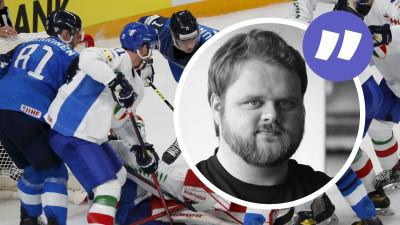 Finland försöker klämma in pucken nära Italiens mål.