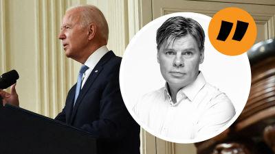 Kommentatorn Ville Hupa mot bakgrund av Joe Biden som håller tal.