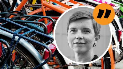 En närbild på cyklar i olika färger parkerade tätt intill varandra. Ovanpå en bild på redaktör Linda Söderlund och ett citattecken.