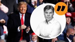Grafik. Till vänster syns Donald Trump som håller kampanjmöte i oktober 2020. Till höger syns journalisten Ville Hupa. Ovanför Ville finns ett citattecken för att signalera att det är fråga om en kommentar.