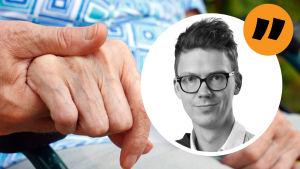Kommentarsbild med stämpel och reportern Magnus Swanljungs ansikte inne i en boll. Som bakgrundsbild syns två händer som håller i varandra. Man ser på huden att personerna är äldre.