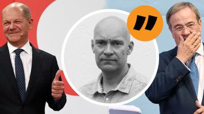 Bildmontage. I bakgrunden syns Olaf Scholz och Armin Laschet. I förgrunden redaktör Johnny Sjöblom.