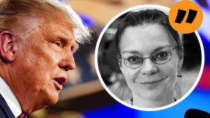 USA:s president Donald Trump i närbild till vänster och en boll med ett kvinnoansikte (Svenska Yles reporter Susanna Sjöstedt) till höger. Ovanför kvinnoansiktet syns en gul boll med citattecken.