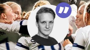 Bild på Sebastian Backmans ansikte framför firande fotbollsdamer.