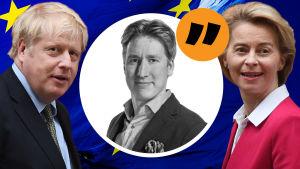 Montage av flera bilder. I bakgrunden syns EU:s flagga. I förgrunden till vänster syns Boris Johnson, till höger Ursula von der Leyen. I mitten i grafik syns journalist Rikhard Husu. Ovan honom syns ett citattecken för att visa att det är en kommentar.