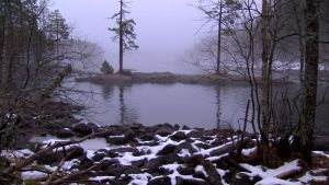 En dimmig fors i norra Karelen.