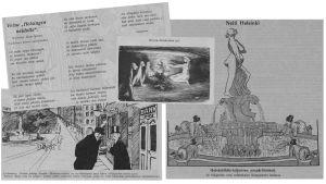 Pilakuvia Havis Amandaan liittyen vuodelta 1908.