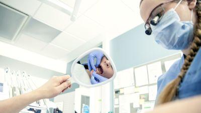 Hammaslääkäri näyttää lapsipotilaalle peilin kautta miten hampaiden välit tulisi puhdistaa.