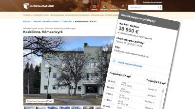 Kuvakaappaus Huutokaupat.com -verkkosivuilta, Hämeenkyrön Koskilinnan myynti-ilmoituksesta