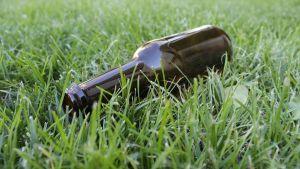 Ölflaska i gräsmatta