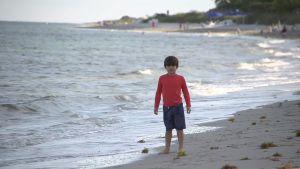 Pojke står på stranden i Key Biscayne.