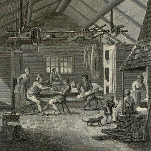 Acerbin piirros runonlaulajista pirtissä 1799.