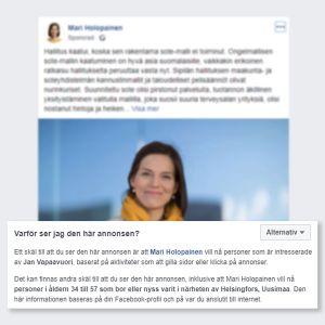 Skärmdump av Facebookannons för de Grönas riksdagsvalskandidat Mari Holopainen