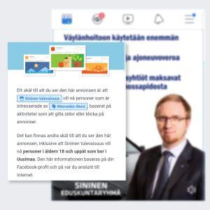 Skärmdump av Facebookannons för blå riksdagsgruppen