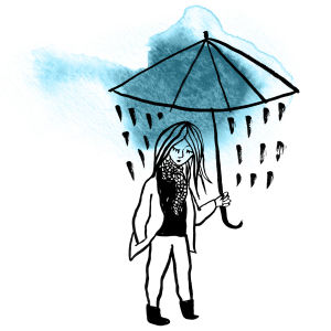 En skiss av en kvinna i regn hållande ett paraply.