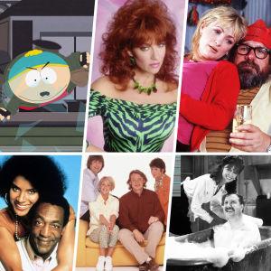 Kollage med personer från olika sitcoms på tv.