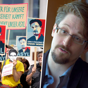 Kollage med Edward Snowden samt demonstranter som stöder honom.