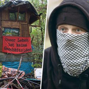 Maskerad miljöanarkist i västra Tyskland i kollage med trädkoja och banderoll.