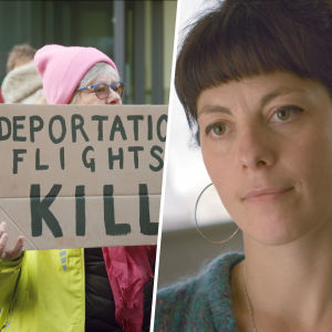 Kollage med demonstrant med paffskiva och texten Deportation flights kill samt aktivisten May McKeith.
