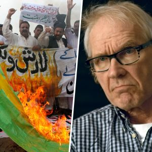 Kollage med Lars Vilks samt flaggbrännande muslimer i Pakistan.