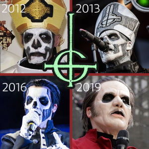 Ghosts Papa Emeritus/Cardinal Copia i fyrfält 2012, 2013, 2016 och 2019.