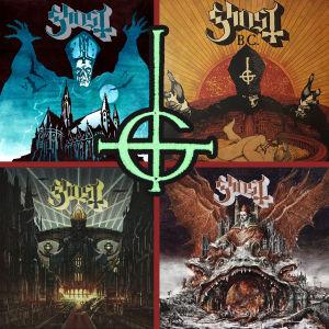 Fyra skivomslag av Ghost i kvadrat.
