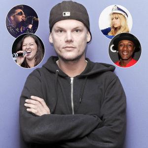 Kollage med Avicii samt i små bollar Adam Lambert, Blondfire, Amanda Wilson och Aloe Blacc.