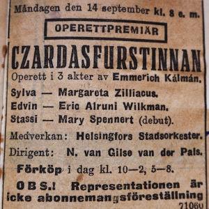 Mustalaisruhtinatar-operetin lehti-ilmoitus ruotsiksi 1933.