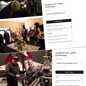 Skärmdump  från Kiss hemsida på Meet and greet-priser.