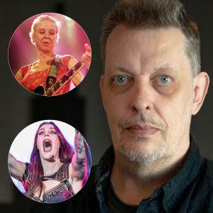 Kollage med Michael Kronströms porträtt med Kristin Hersh och Floor Jansen i runda bollar bredvid Mickes ansikte.