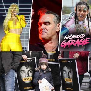 Kollage med problematiska artister och Grönroos garage logo.