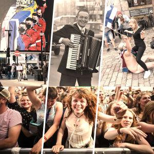 Kollage med musikfestiovalpublik, prins Philips begravning, dragspelsgubbe och hockeyfirande.