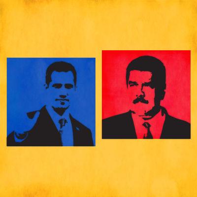 Bildkollage Nicolad Maduro och Juan Guaidó