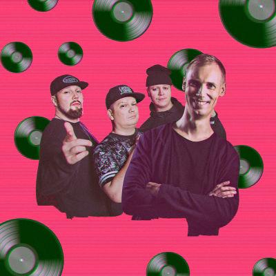 Lyömättömät ja DJ Orion pinkkiä taustaa vasten, jolla leijailee LP-levyjä.