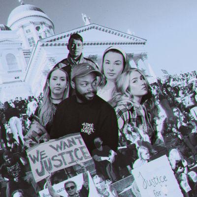 Kuvakollaasi suomalaisartisteista ja Black Lives Matter -mielenosoituksesta.