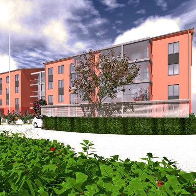 Illustrationsbild för höghusen som byggs vid Brännmalmsvägen i Sjundeå. Röd-orange med stora fönster. Fyra våningar. Två höghus.