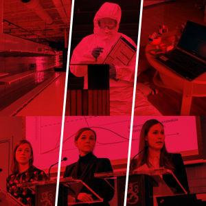 Bildkollage med temat coronavirus. Tom butikshylla, människa i skyddsdräkt, distansjobb laptop och leksaker, regeringens presskonferens.