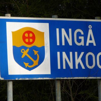 Vägskylt vid gränsen till Ingå.