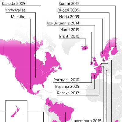 Kartta maista, joissa sukupuolineutraali avioliitto hyväksytty.