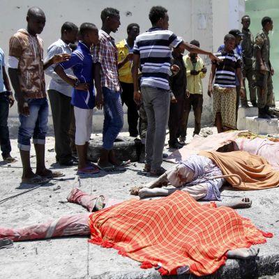 Maassa makaa kaksi huovalla peitettyä uhria. Ympärillä on useita miehiä.