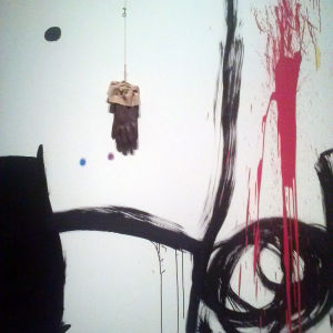 """""""Fågel"""", målning med handske av Miró"""