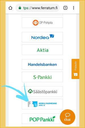 Kuvakaappaus Ferratum-yrityksen verkkopalvelusta: Mobiilivarmenne on yksi tunnistautumistapa oankkitunnusten lisäksi.