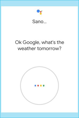 """näyttökuva Google Puhe -tunnistuksesta. """"Opeta laite tunnistamaan äänesi"""""""