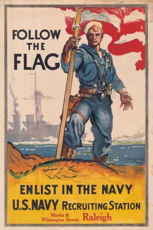Amerikkalainen merisotilas Usan lippu liehuen kehottaa liittymään merivoimiin. Toisen maailmansodan aikainen juliste.